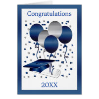 Graduation Card with Mortar, diploma and balloons