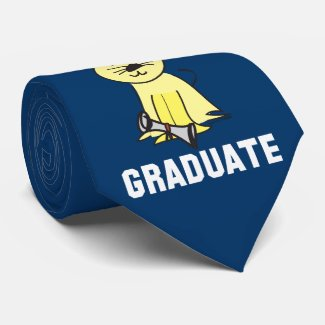 Graduation Cat Lover Custom Ties