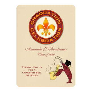 Graduation Celebration Crawfish Boil Party 5x7 Paper Invitation Card