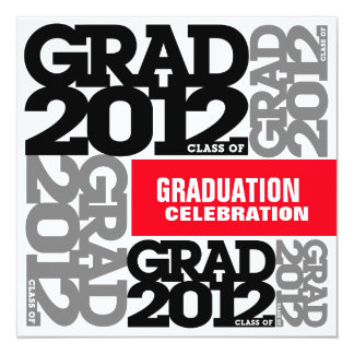 Graduation Celebration Invitation 2012 Gray Red