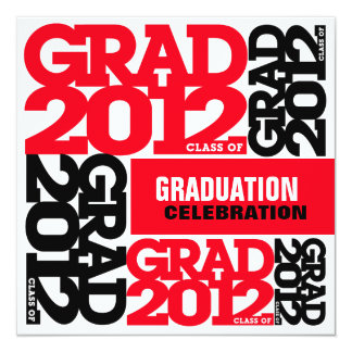 Graduation Celebration Invitation 2012 Red Black W