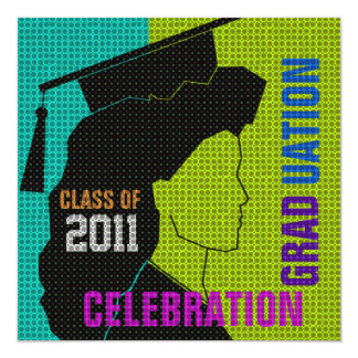 Graduation Celebration Invitation Cap & Gown Silo8
