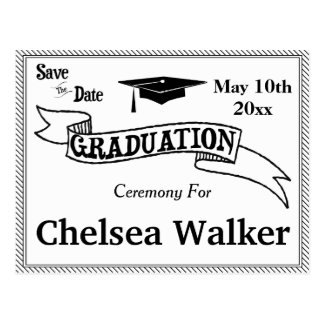 Graduation Ceremony Or Party Save The Date Postcard
