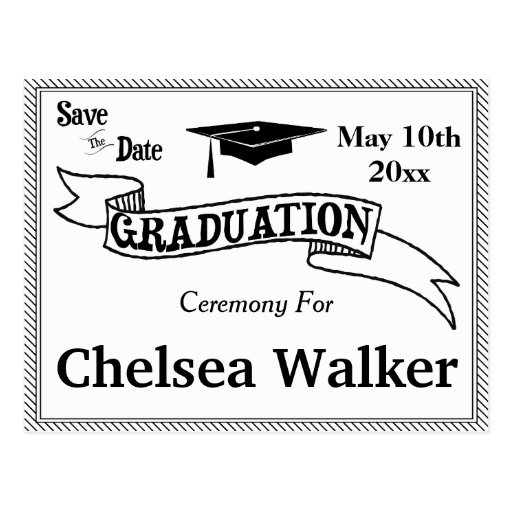 Graduation Ceremony Or Party Save The Date Postcard  Zazzle. Party City Graduation Invitations. Stain Glass Window Template. Google Docs Cookbook Template. Loan Amortization Schedule Excel Template. Teacher Plan Book Template. Christmas Party Background. Columbia Graduate School Of Arts And Sciences. Paw Patrol Birthday Party Invitations
