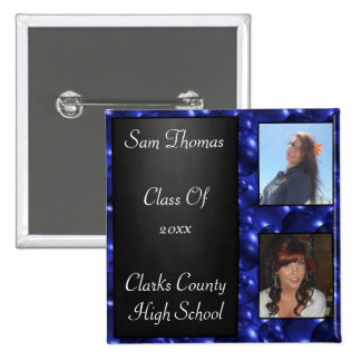 Graduation Chalkboard 2 Photos Blue Glass Bubbles Button