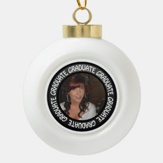 Graduation Chalkboard Circle Add Your Photo Ceramic Ball Christmas Ornament
