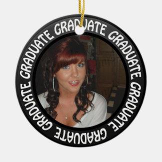 Graduation Chalkboard Circle Add Your Photo Ceramic Ornament