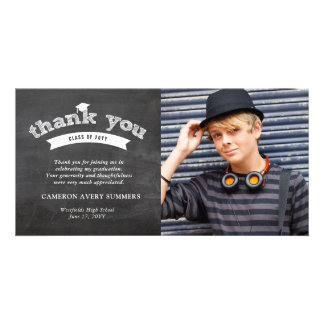 Graduation Chalkboard Sketch Thank You Photo Card