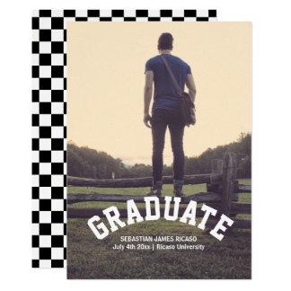 Graduation Check Black White Modern Personalized Card