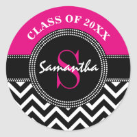 Graduation Chevron Monogram Hot Pink and Black Classic Round Sticker