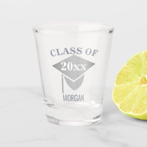 Graduation Chic Silver Mortarboard Reunion Shot Glass
