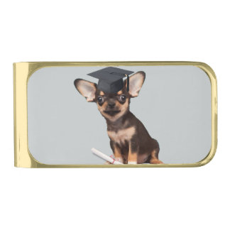 Graduation Chihuahua dog Gold Finish Money Clip