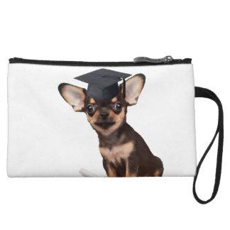 Graduation Chihuahua dog Wristlet Wallet
