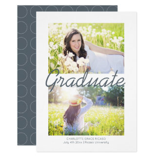 Graduation Circle Pattern Grey Modern Personalized Card