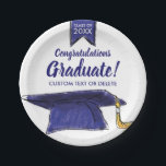 "Graduation Class 2018 Congrats Blue Grad Cap Paper Plate<br><div class=""desc"">Graduation paper plates featuring a Blue Grad Cap and banner and Congratulations text - add your grad&#39;s class of year and custom line of text School or student name).  Perfect for graduation parties and celebrations.</div>"