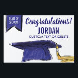 "Graduation Class 2018 Congrats Blue Grad Cap Sign<br><div class=""desc"">The perfect sign to celebrate your Graduate!  Design features a Blue Grad Cap and banner and Congratulations - add your grad&#39;s class of year,  name and custom line  of text.  Makes a great yard sign,  indoor graduation party sign or you can even hold it up at the graduation ceremony.</div>"