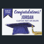 """Graduation Class 2018 Congrats Blue Grad Cap Sign<br><div class=""""desc"""">The perfect sign to celebrate your Graduate!  Design features a Blue Grad Cap and banner and Congratulations - add your grad&#39;s class of year,  name and custom line  of text.  Makes a great yard sign,  indoor graduation party sign or you can even hold it up at the graduation ceremony.</div>"""