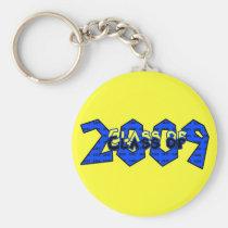 trend, setter, teens, graduation, class, 2009, blue, yellow, 2008, graduate, school, event, events, graduating, classes, senior, seniors, Keychain with custom graphic design
