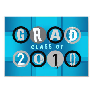 Graduation Class Of 2010 Circle Blue Invitation