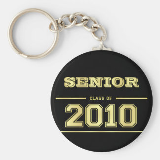 Graduation Class of 2010 Key Ring - Black and Gold Keychain