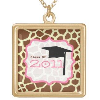 Graduation Class Of 2011 Giraffe Print & Pink Pendants