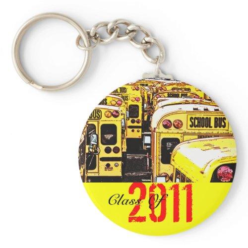 Graduation Class Of 2011 Keychain Yellow Bus keychain