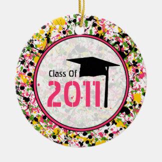 Graduation Class of 2011 Multicolor Paint Splatter Ceramic Ornament