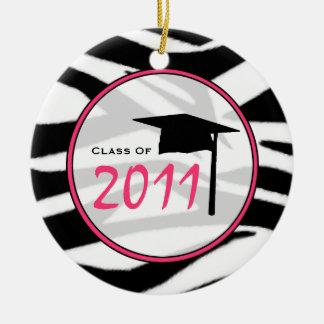Graduation Class of 2011 Zebra Print & Pink Ceramic Ornament