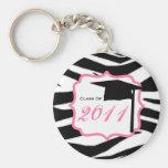 Graduation Class Of 2011 - Zebra Print & Pink Key Chain