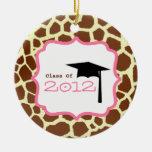 Graduation Class Of 2012 Giraffe Print & Pink Christmas Tree Ornaments