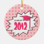 Graduation Class Of 2012 Pink Pop Art Christmas Tree Ornaments