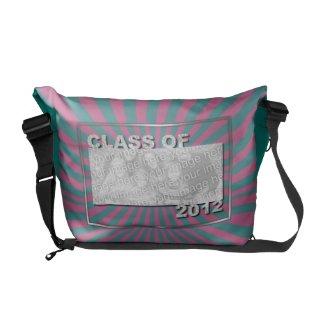 Graduation - Class of 2012 - Pink Teal Burst rickshawmessengerbag