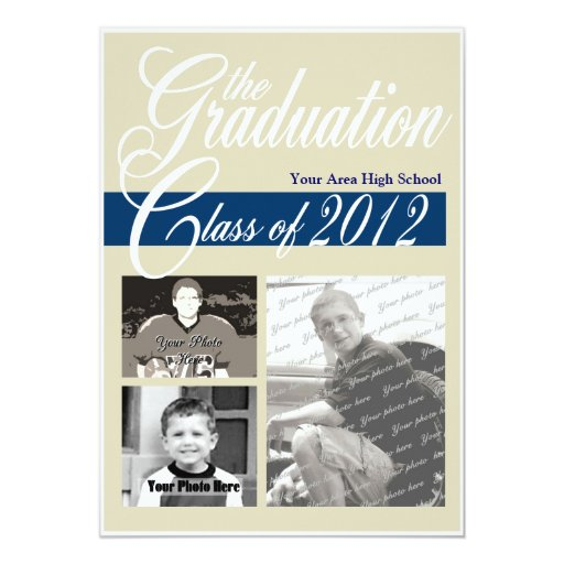 "Graduation Class of 2012 Tri Photo 5"" X 7"" Invitation Card"