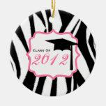 Graduation Class Of 2012 Zebra Print & Pink Christmas Ornaments