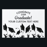 "Graduation Class of 2018 Congrats Grad Cap Custom Sign<br><div class=""desc"">The perfect sign to celebrate your Graduate! Design features a Grad Caps tossed in the air and the Words Congrats Grad - add your grad&#39;s class of year and another line of text to personalize. Makes a great yard sign, indoor graduation party sign or you can even hold it up...</div>"