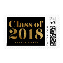 Graduation Class of 2018  Gold Typography black Postage