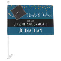 Graduation Class of 2020 Car Party Blue Car Flag