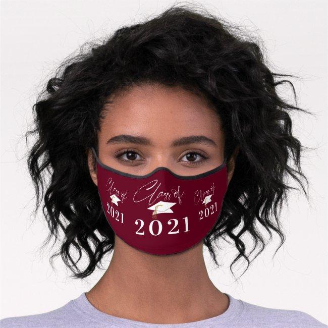 Graduation Class of 2021 Modern Typography Maroon Premium Face Mask