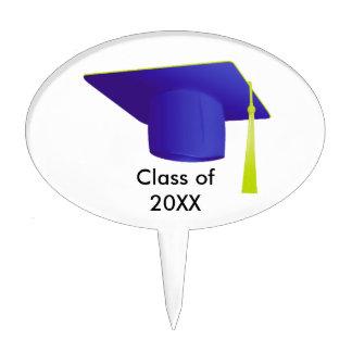 Graduation Class of 20XX Blue Cap Oval Cake Pick