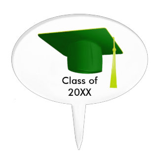 Graduation Class of 20XX Green Cap Oval Cake Pick