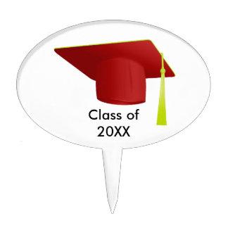 Graduation Class of 20XX Red Cap Oval Cake Pick