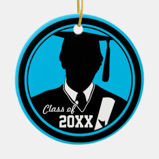 Graduation Class Of Add Photo Ornament Boy Blue