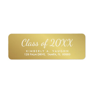 Graduation Class of Gold Foil Look Return Address Label