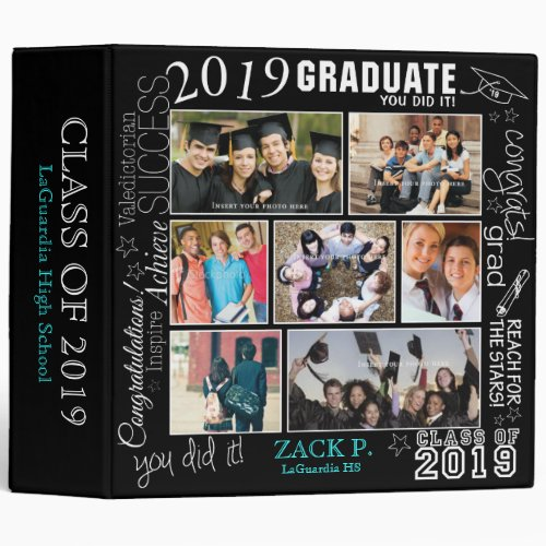 Graduation Collage 2019 - 7 Image Customizable 3 Ring Binder