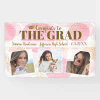 Graduation Congrats Custom Photos Pink Gold Sign