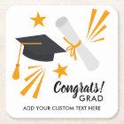Graduation Congrats Grad Cap Diploma Stars Custom Square Paper Coaster