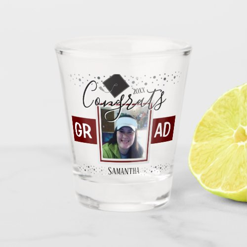Graduation Congrats GRAD Name and Photo Wine Shot Glass