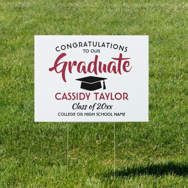Graduation Congrats Modern Red White & Black Yard Sign