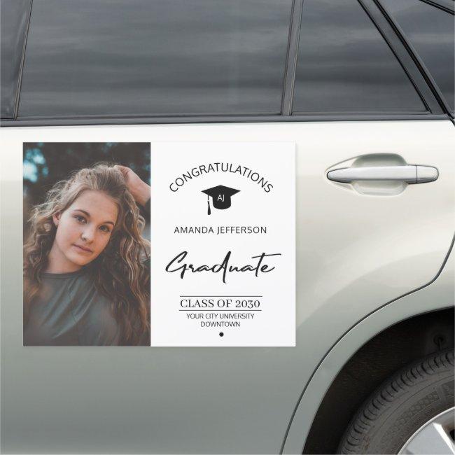 Graduation congrats name elegant photo graduate ca car magnet