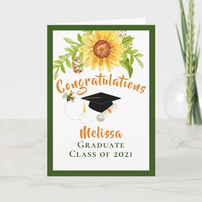 Graduation Congratulation Floral Card